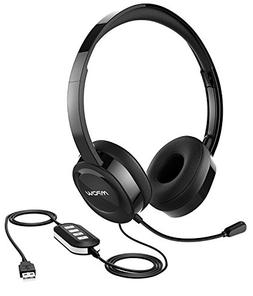 Mpow 158 USB Headset/ 3.5mm Computer Headset, Soft Memory-Pr
