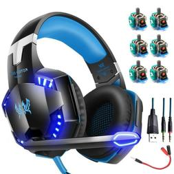 3.5mm Gaming Headset LED Headphones Stereo Surround for PS4