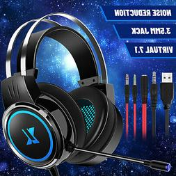 3.5mm Gaming Headset Mic LED Headphones 7.1 Stereo Surround