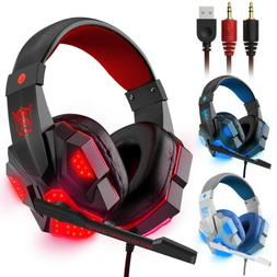 3.5mm Gaming Headset Mic LED Headphones Stereo Bass Surround