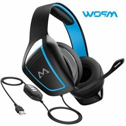 Mpow 3.5mm USB Headset Wired Computer Headphones w/ Micropho