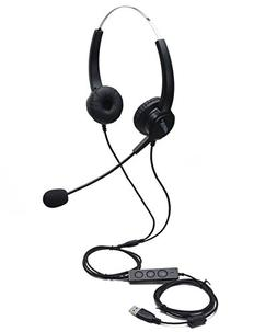 AGPtEK USB Stereo Binaural Headset Corded Call Center Headph