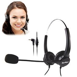 TRIPROC Binaural DC 2.5MM Telephone Headset for Landline Pho