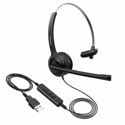 Mpow 3.5mm/USB 323 Wired Headset w/Noise Cancelling Mic PC C