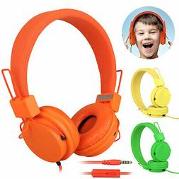 foldable kids wired headphones mic stereo headset