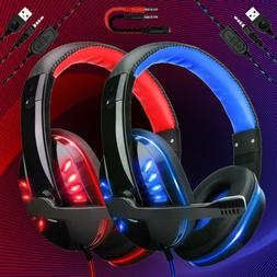 Gaming Headset 3.5mm Mic LED Headphones Stereo Surround For