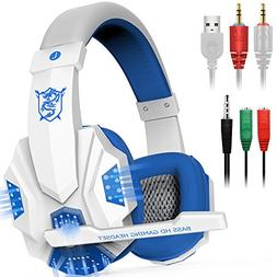 Gaming Headset with Mic and LED Light for Laptop Computer, C