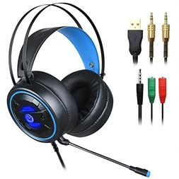 DLAND Gaming Headset with Mic and Changeable LED Light for L