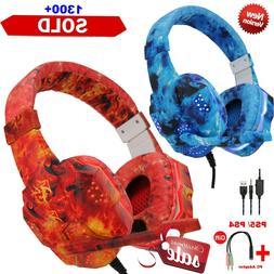 Gaming Headset Mic LED 3.5mm Headphones Stereo Surround  PS5