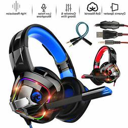 Gaming Headset Mic Surround Headphone LED RGB Light Wired fo