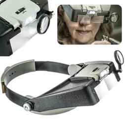 Head Magnifier Jewelry Watches Headset Headband LED Power Li