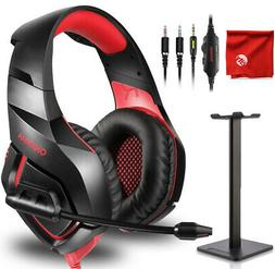 ONIKUMA K1-B Red Gaming Headset + Stand for Xbox One, PS4, N