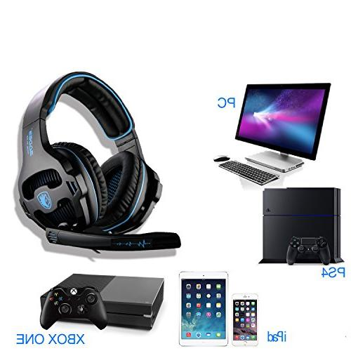 SADES 2018 Gaming Headset Stereo Bass Headphones Microphone Control Xbox Laptop Mac Mobile