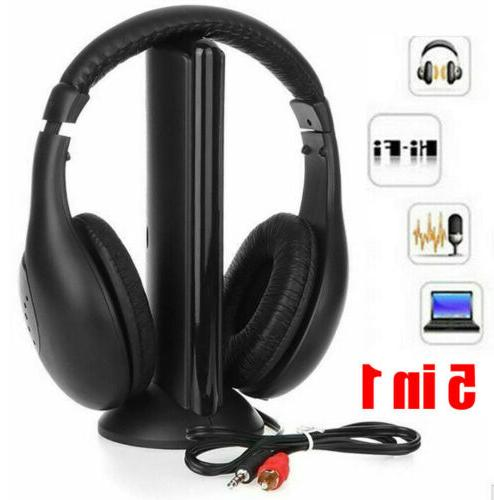 5 In 1 Wireless Cordless RF Headphones Headset With Mic for
