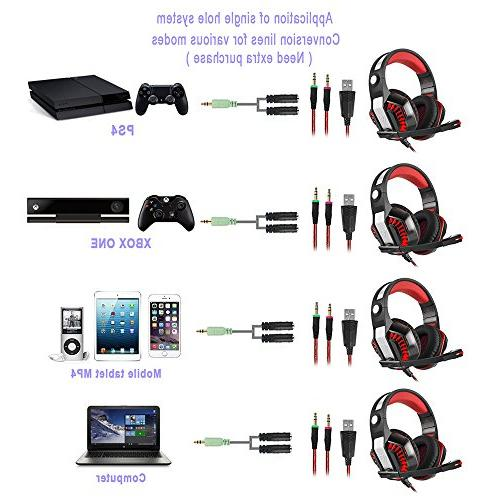 Beexcellent GM-2 for Xbox One PC Mic-Sound with LED Lights for Game,PS4,Xbox One,Laptops,Tablet,Smartphones,