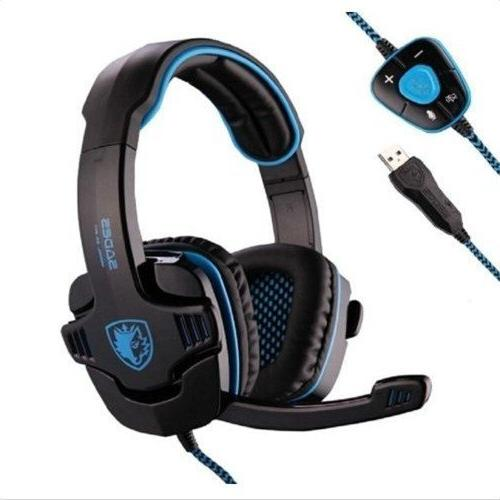 Sades Stereo 7.1 Surround Pro USB Gaming Headset with Mic He