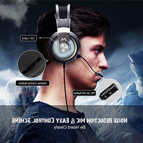 7.1 Surround Headphones FPS Game, 50mm Driver, USB Computer Headset Noise Light, Control for