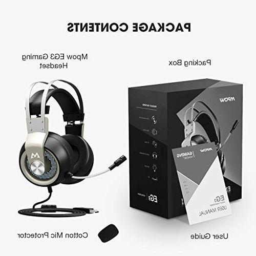 Mpow 7.1 Headphones 50mm Driver, Stereo USB Computer Headset with Noise Cancelling Light, Volume/Mic for PC, PS4