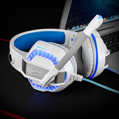 Gaming for Noise Cancelling Wired Headset Control/LED 4/Laptop/Mac/Computer