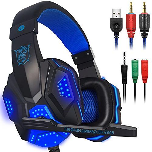 Gaming Headset with Mic and LED Light