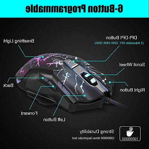 BENGOO Mouse, Stereo Gaming for One, PC, Ear LED Light, 3200 DPI Ergonomic Gaming Mouse
