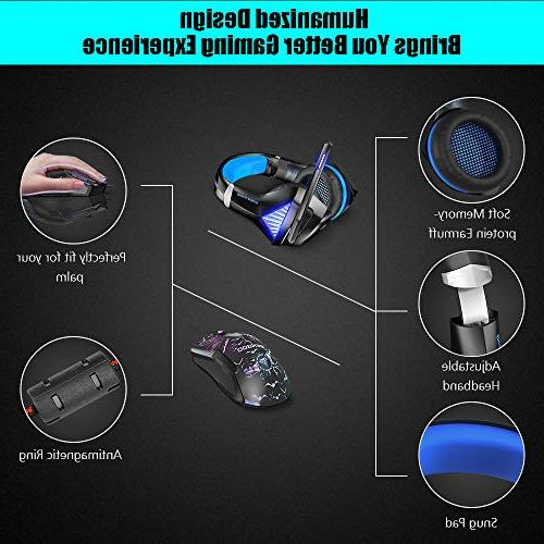 BENGOO Mouse, Stereo Gaming for Xbox PC, Ear Headphones Mic, LED Adjustable, Buttons Wired Ergonomic Mouse