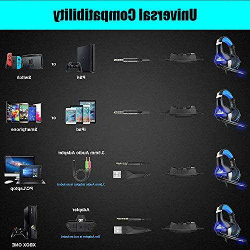 BENGOO Headset and Mouse, Stereo for PS4, PC, Ear Headphones LED Light, Adjustable, Wired Ergonomic