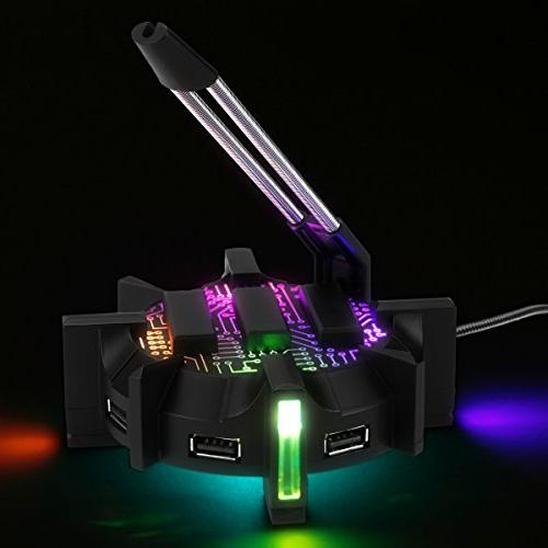 ENHANCE Pro Gaming Bungee Holder Port USB 7 LED - Cable Support Improved Design Gear