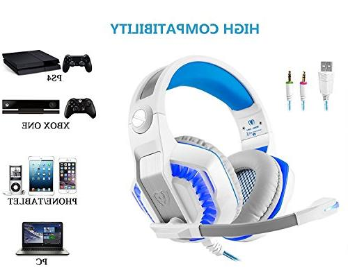 Gaming Xbox One, Over Ear Headset Control/LED 4/Laptop/Mac/Computer