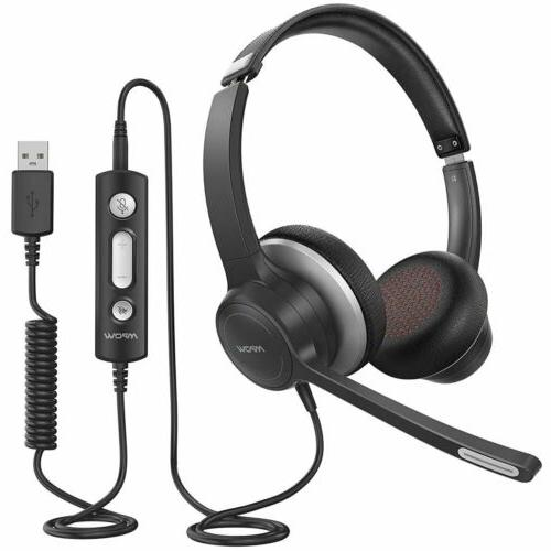 Mpow USB Noise Cancelling Microphone Headset for PC Computer