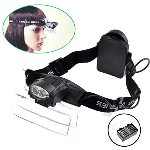 lighted head magnifier glasses headset