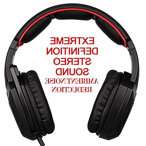 Stereo Gaming Headset Ear Microphone / /Cell phones- Black/red