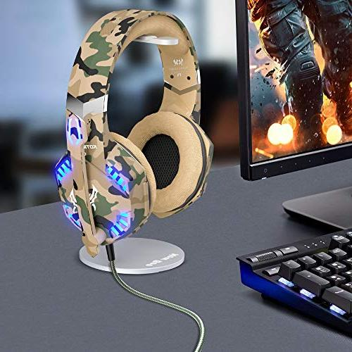 VersionTECH. Stereo for Controller, Ear Headphones with Bass Surround LED Lights Mac Switch Camo