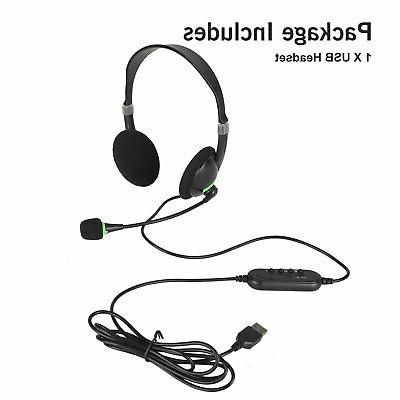 USB Headset with Noise Cancelling for PC Chat