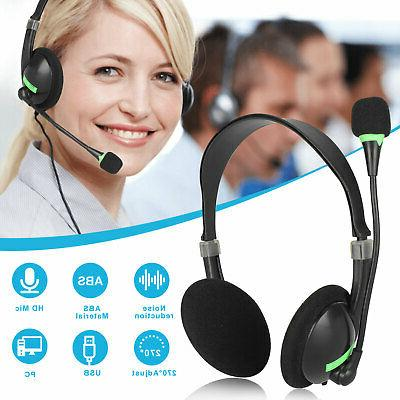 usb headset with microphone noise cancelling computer