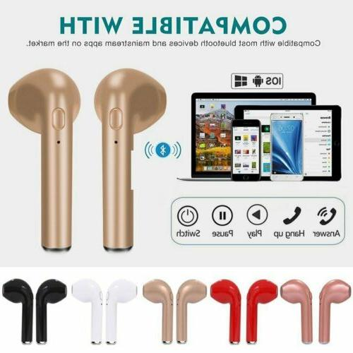 Pair Bluetooth Wireless Sport Stereo Headphones Earbuds W/ Mic