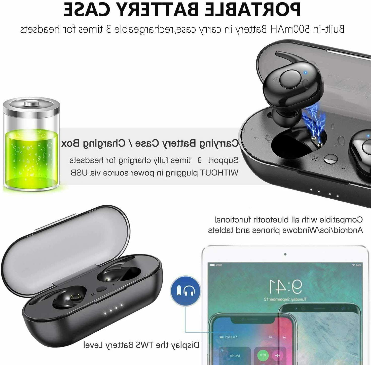 Wireless Earbud Headset With Charging Waterproof