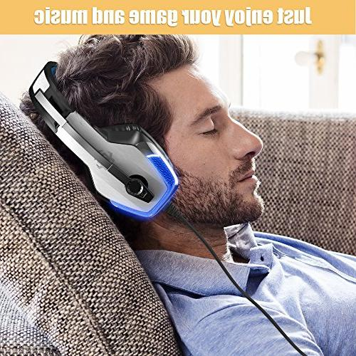 BENGOO V-4 Gaming for One, PC, Controller, Noise Over Ear Headphones Mic, Surround Soft Earmuffs for Games