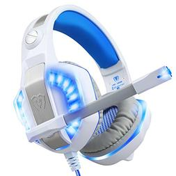 TurnRaise Over Ear Gaming Headset with Microphone, White LED