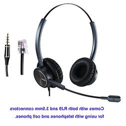 Phone Headset RJ9 for Office Call Center with Noise Cancelli