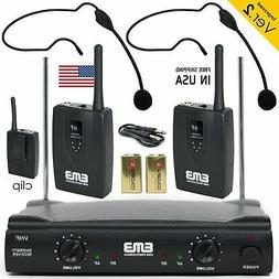 Professional Wireless Microphone System Dual Headset 2 x Mic