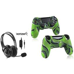 Insten PS4 Controller Camouflage Navy Green Silicone Skin Ca
