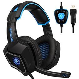 USB Stereo Gaming Headset PC, SADES L9Plus 7.1 Virtual Surro
