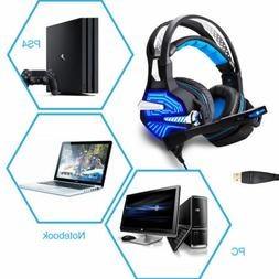 Stereo Gaming Headphones USB Headsets With LED Light MIC for