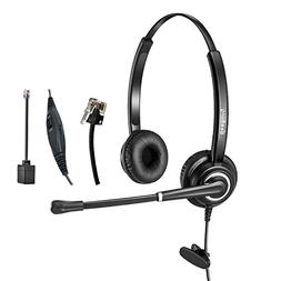 Telephone Headset Dual Ear RJ9 Wired Call Center Headset wit