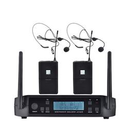 UHF Dual Channels Wireless Microphone Cordless Headset Mic S