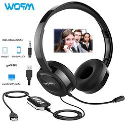 Mpow USB/3.5mm Stereo Headset Computer Wired Headphones w/Mi
