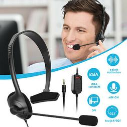 USB Headset w/Noise Cancelling Mic Computer Headphone for La