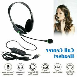 USB Noise Cancelling Headset Headphones with Microphone PC L
