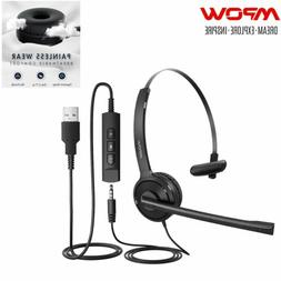 MPOW USB Noise Cancelling Microphone Headset Call Centre Tel